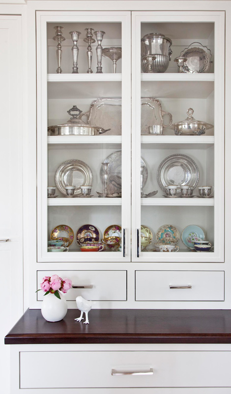 100 year old classically modern family home in for Modern china cabinet display ideas