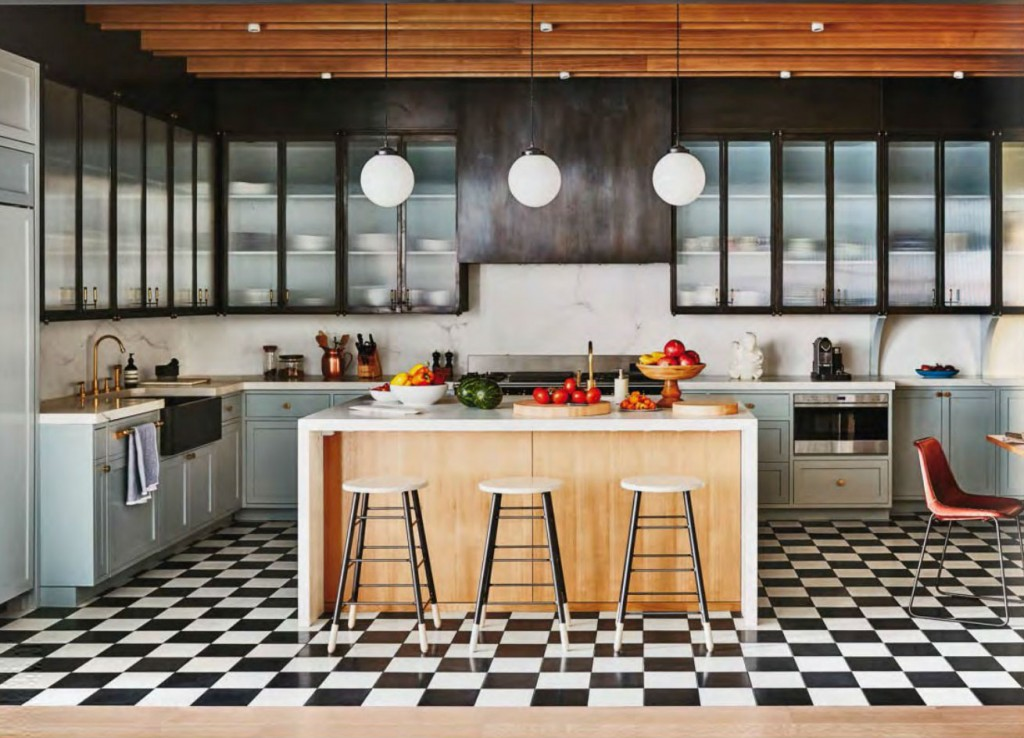black and white floor tile kitchen. Contemporary Kitchen with Checked Black and White Floor Tiles checkered  Interiors By Color 23 interior decorating ideas