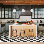 Contemporary Kitchen with Checked Black and White Floor Tiles
