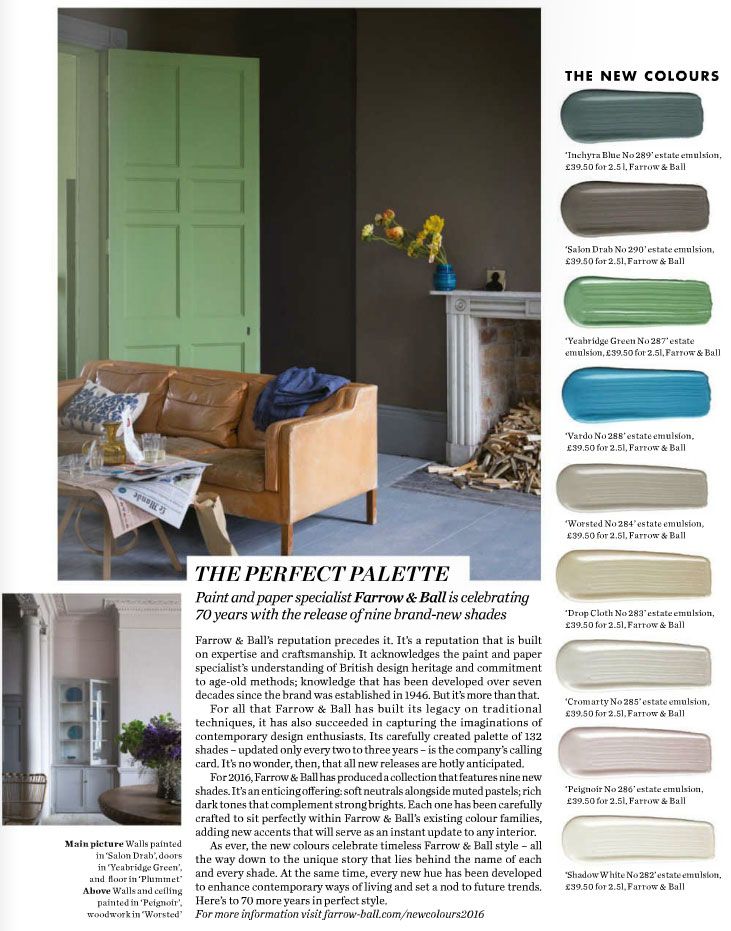 The perfect paint palette by Farrow & Ball - Interiors By Color