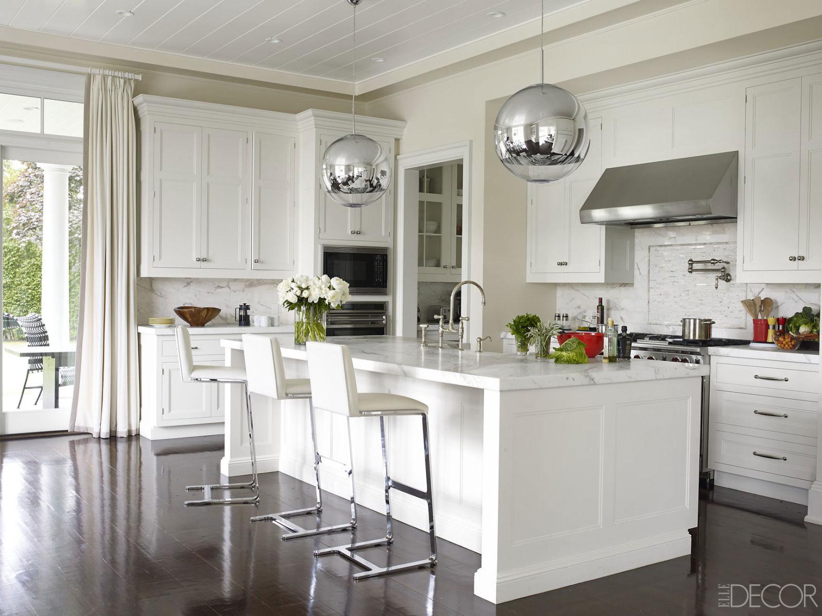 White Kitchen With Silver Spheres