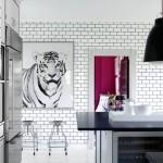White subway tile dark grout in the kitchen