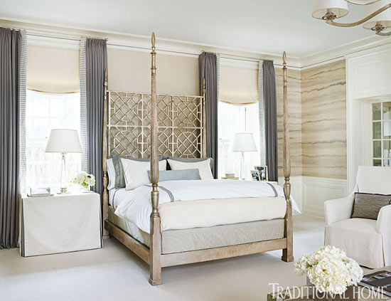 classic bedroom decorating ideas | Neutral Bedroom with Airy Metallics - Interiors By Color
