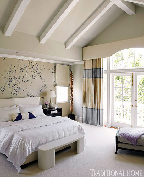 Neutral Bedroom With Blue Accents Interiors By Color