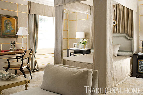 Neutral Bedroom with Dramatic Drapery