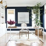 Navy Blue and White Home Office