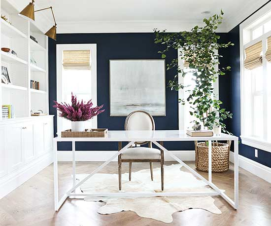 Deep Royal from Benjamin Moore office interior