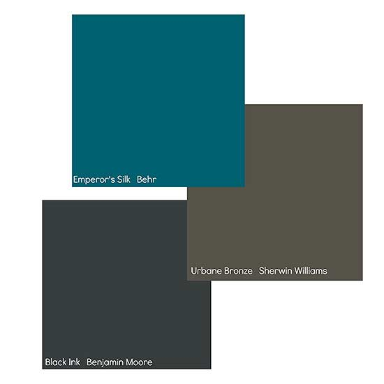 Sherwin-Williams Urbane Bronze, Behr Emperor's Silk, and Benjamin Moore Black Ink