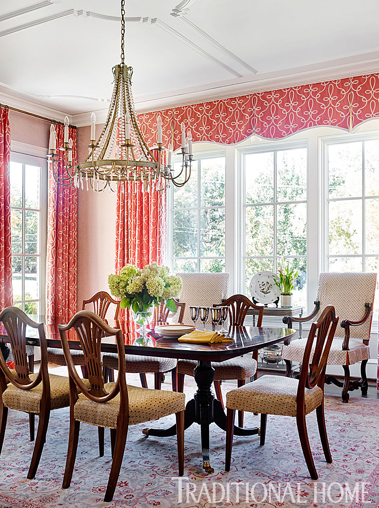 Traditional Salmon Colored Dining Room