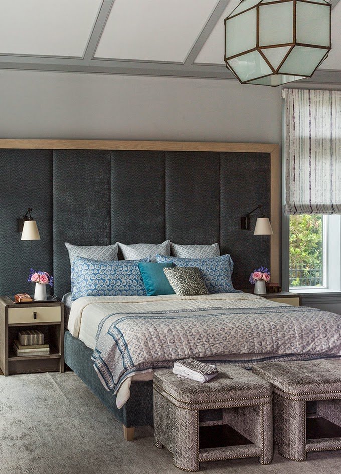 Master Bedroom Painted in Benjamin Moore Pebble Beach and Marina Gray