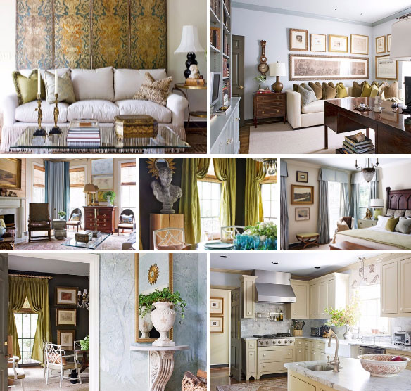 Pastel Blues, Gold and Greens - Traditional Home Tour