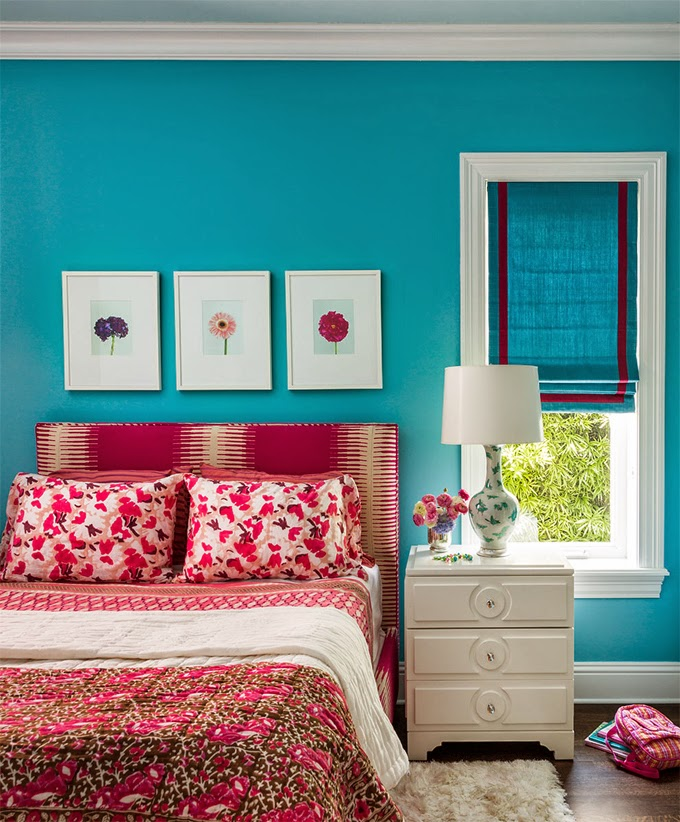 Turquoise Red And Pink Bedroom
