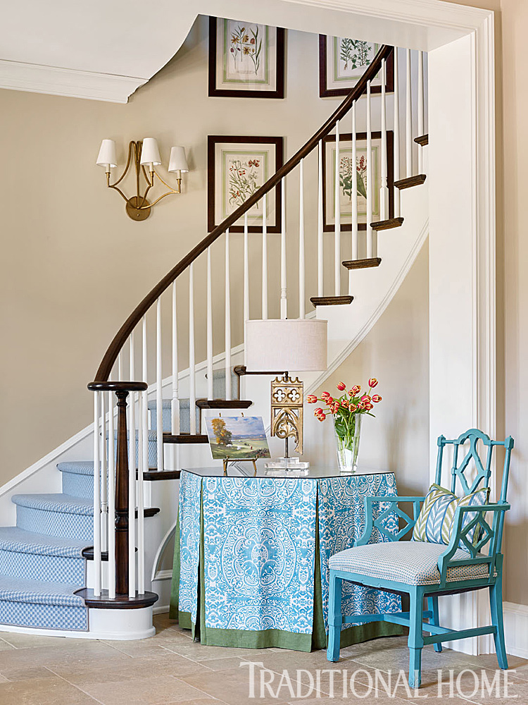 Traditional Foyer Staircase in Turquoise