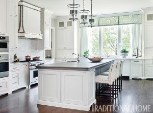 Traditional white kitchen painted with Sherwin Williams paints