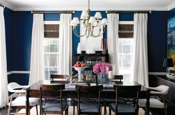 Benjamin Moore Champion Cobalt, great for bringing to life a Traditional dining room.
