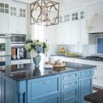 Kitchen Island Painted in Benjamin Moore Poolside 775