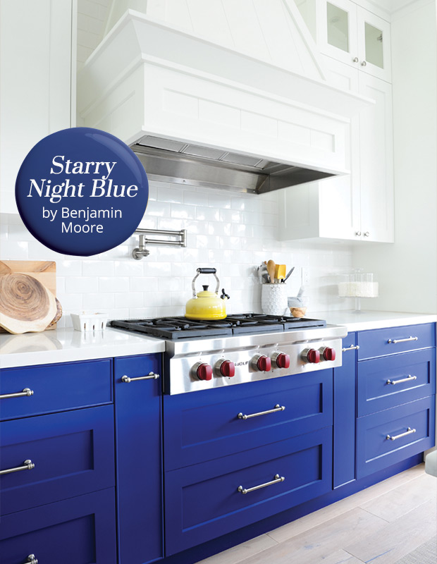Kitchen cabinets painted in Benjamin Moore Starry Night Blue Amazing