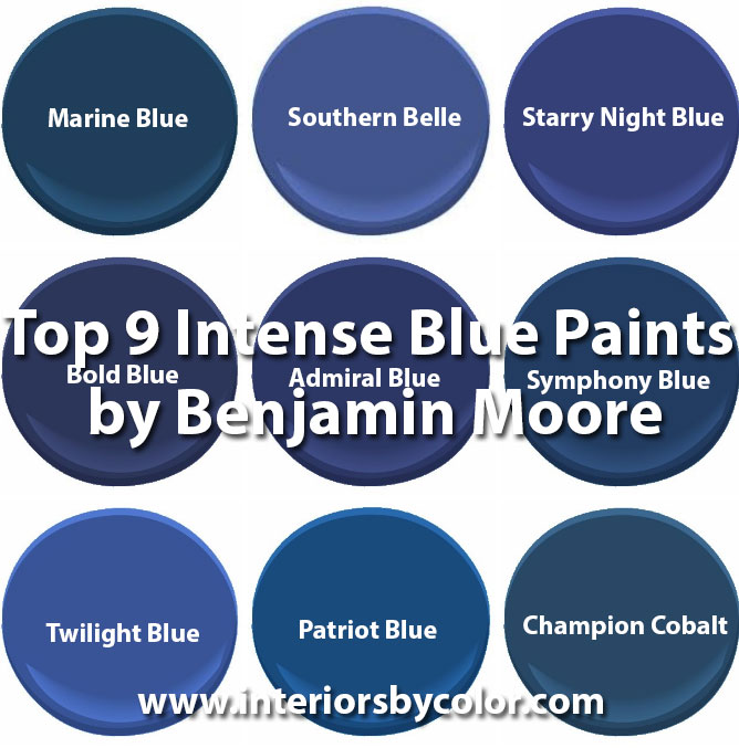 Top-9-Intense-Blue-Paints-by-Benjamin-Moore http://www.interiorsbycolor.com/top-9-intense-blue-paints-benjamin-moore/