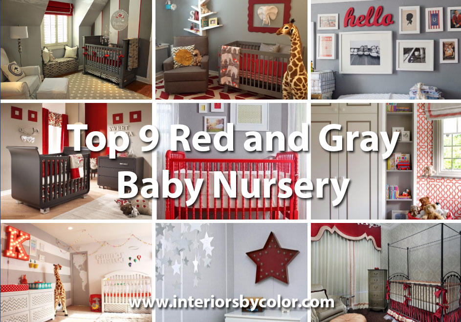 Top 9 red and gray nursery by http://www.interiorsbycolor.com/