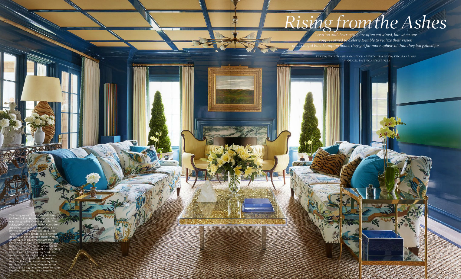 blue east hampton living room - Living Room East Hampton