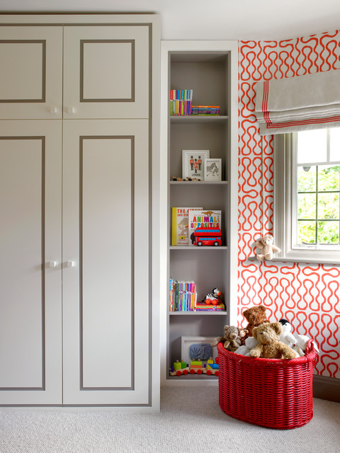 contemporary-kids room in gray and red