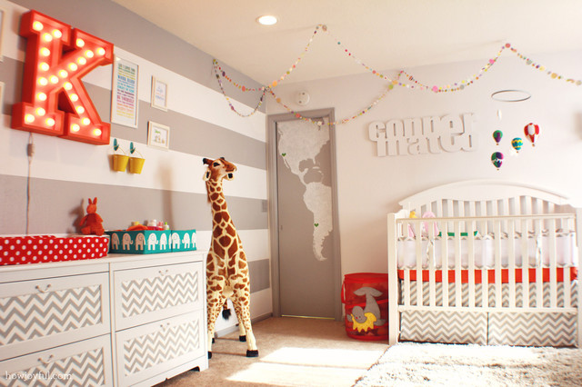 Contemporary nurseryTop 9 Nursery Decorating Ideas in Red and Gray   Interiors By Color. Paint Colors For Gender Neutral Nursery. Home Design Ideas