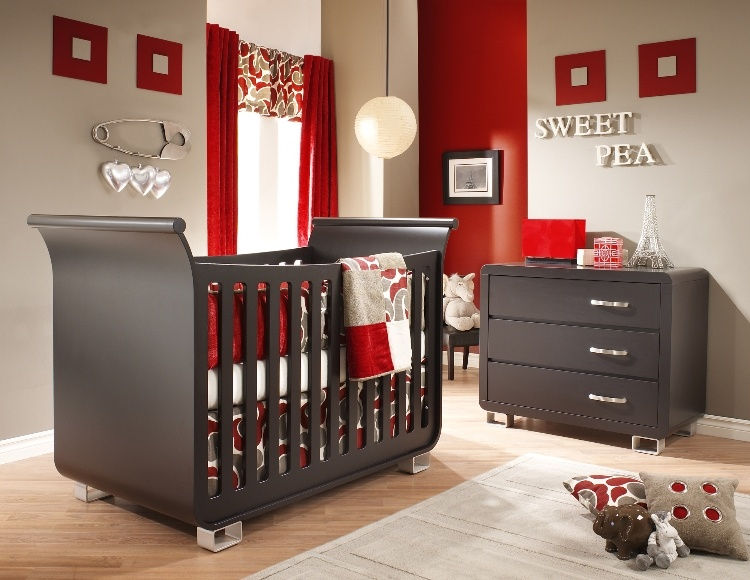 dark gray and red nursery decorating ideas
