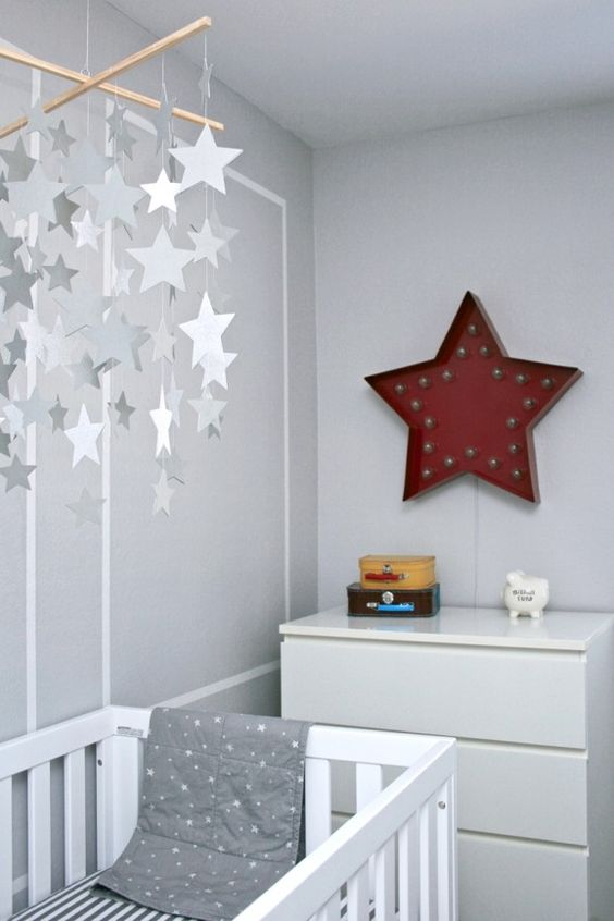 gray nursery with red accents and stars