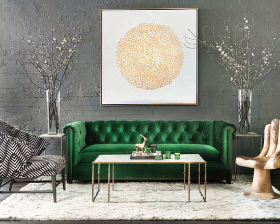 Contemporary Living Room in Green and Gold