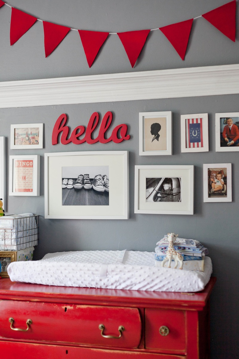 red and gray nursery baby