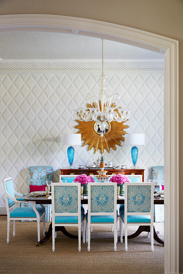 turquoise chairs in the dining room