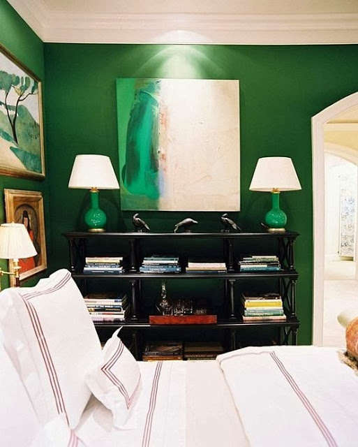 Amazing Emerald Green Bedroom by Miles Redd via Lonny Magazine