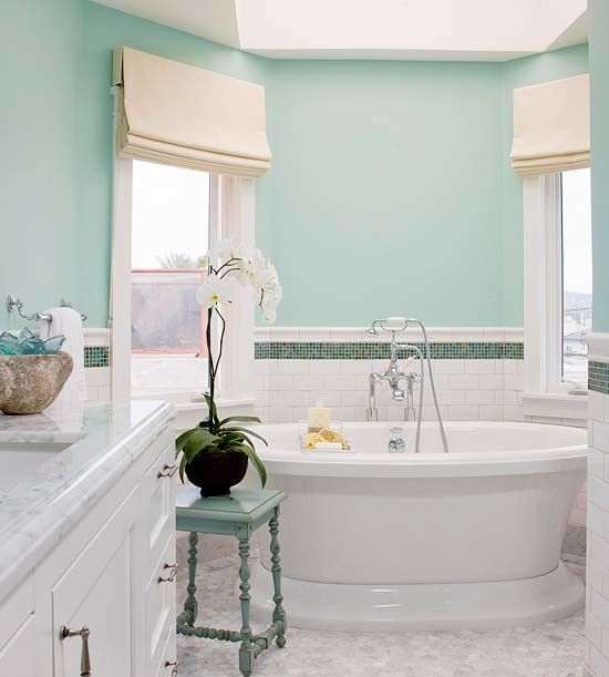 Bathroom with walls painted in Behr Rivers Edge 510C-3