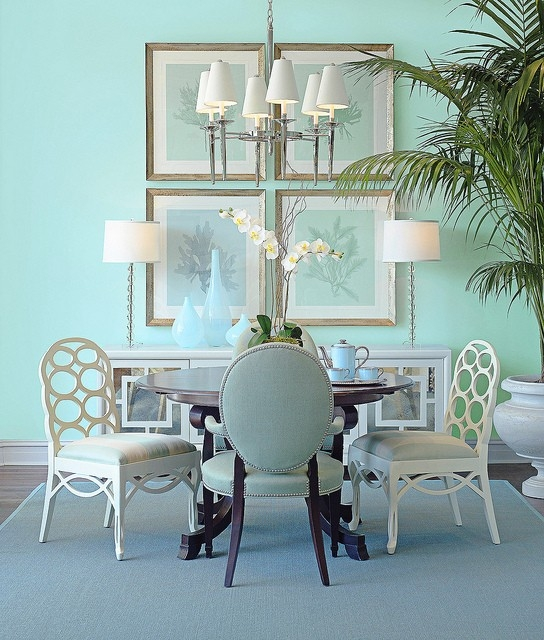 Dining room walls painted in Benjamin Moore Dolphin's Cove