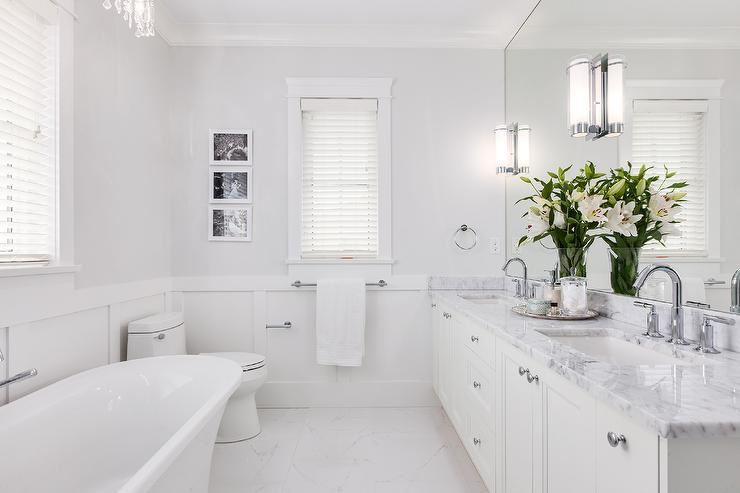 Benjamin Moore Horizon gray bathroom