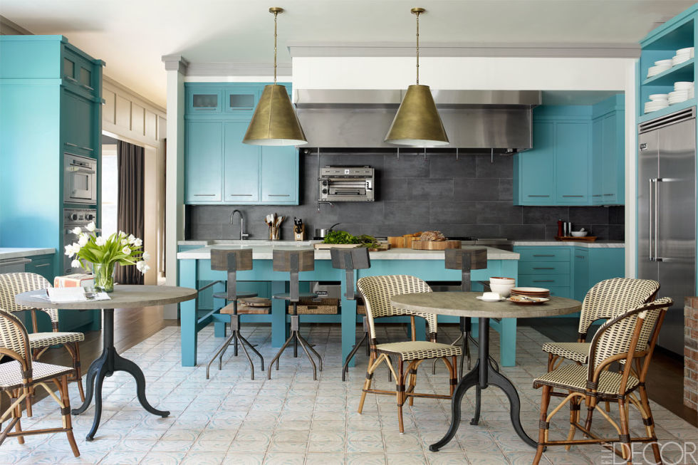 Benjamin Moore Majestic Blue Painted Kitchen Cabinets