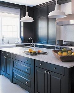 Benjamin Moore Paint Color Midnight Oil On Gray Kitchen Cabinets