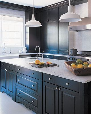Gray Kitchen Cabinets Painted In Benjamin Moore Paint Color Midnight Oil 1631