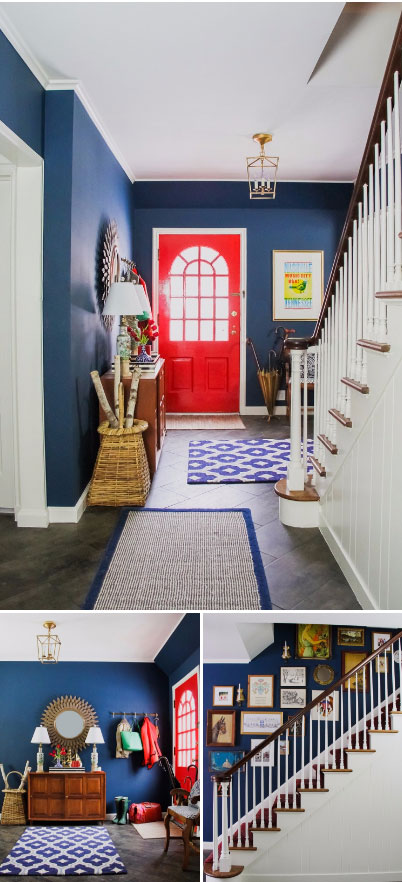 Blue and Red Entrance Painted in Benjamin Moore Washington Blue