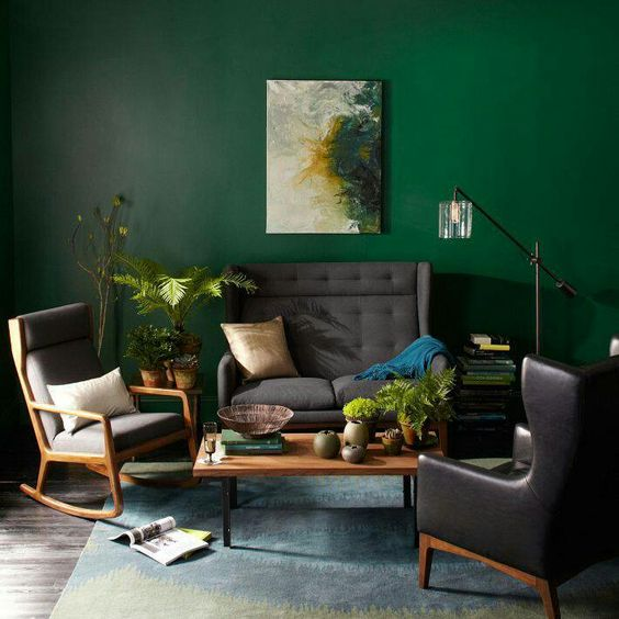 lovely dark green living room wall | Kelly Green Interior Decor and Paints - Interiors By Color