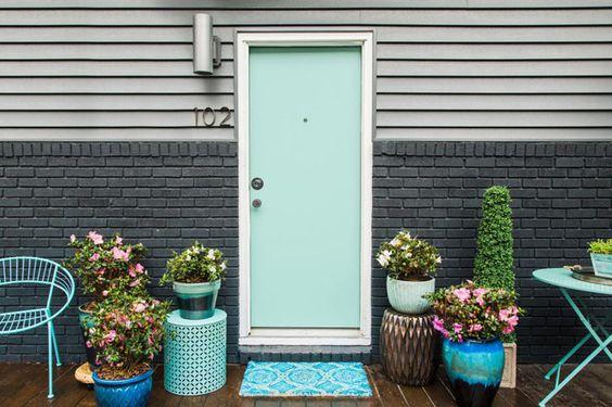 Door painted in Sherwin-Williams Aquatint