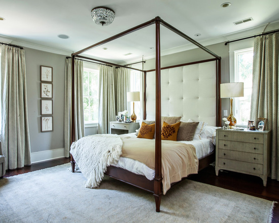 Elephants Breath by Farrow and Ball Paint bedroom walls, gray bedroom design, four poster bed.