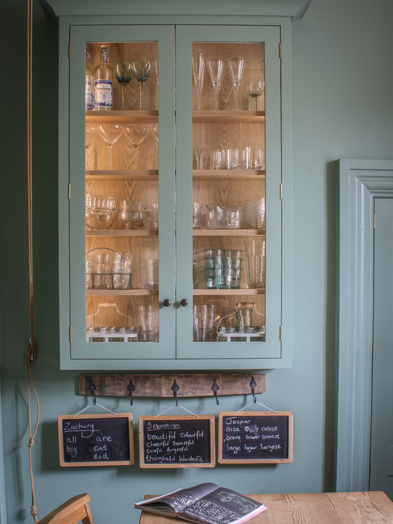 Farrow & Ball Chappell Green country kitchen interior