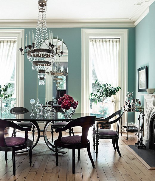Farrow & Ball Chappell Green dining room