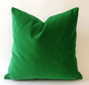 Kelly Green Cotton Velvet Decorative Throw Pillow Cover