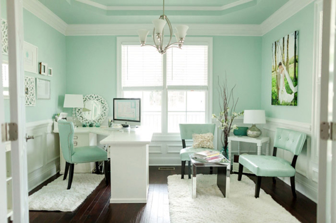 Sherwin Williams Waterscape painted home office