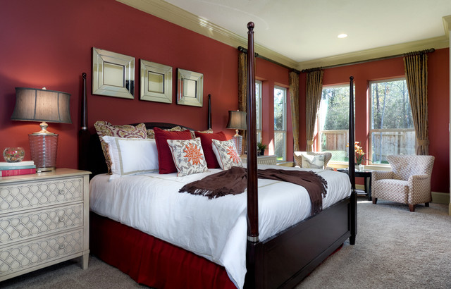 contemporary red master bedroom by connie anderson photography