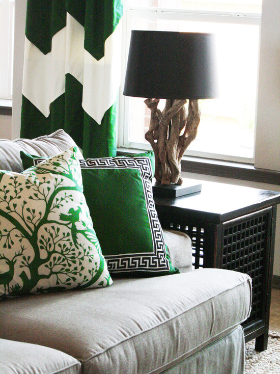 Eclectic family room in Kelly green soft furnishings via Cristi Holcombe Interiors, LLC