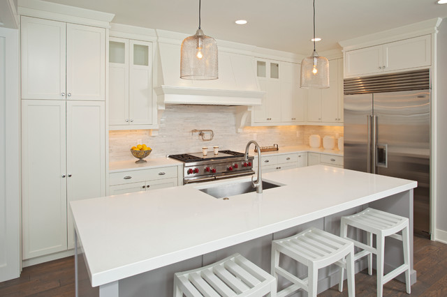 gray and white kitchen painted in Benjamin Moore