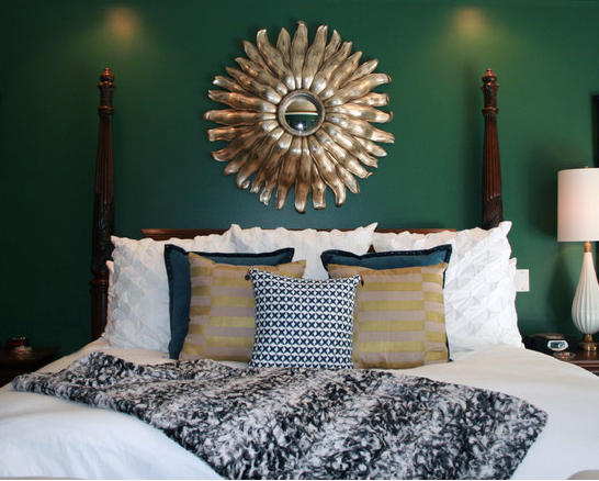{Sherwin Williams Shamrock 6454}. From there we layered in grandiose furnishings and rich textures... dark woods, natural linens, crisp white, deep navy and rich golds. via Nichole Staker Design Style
